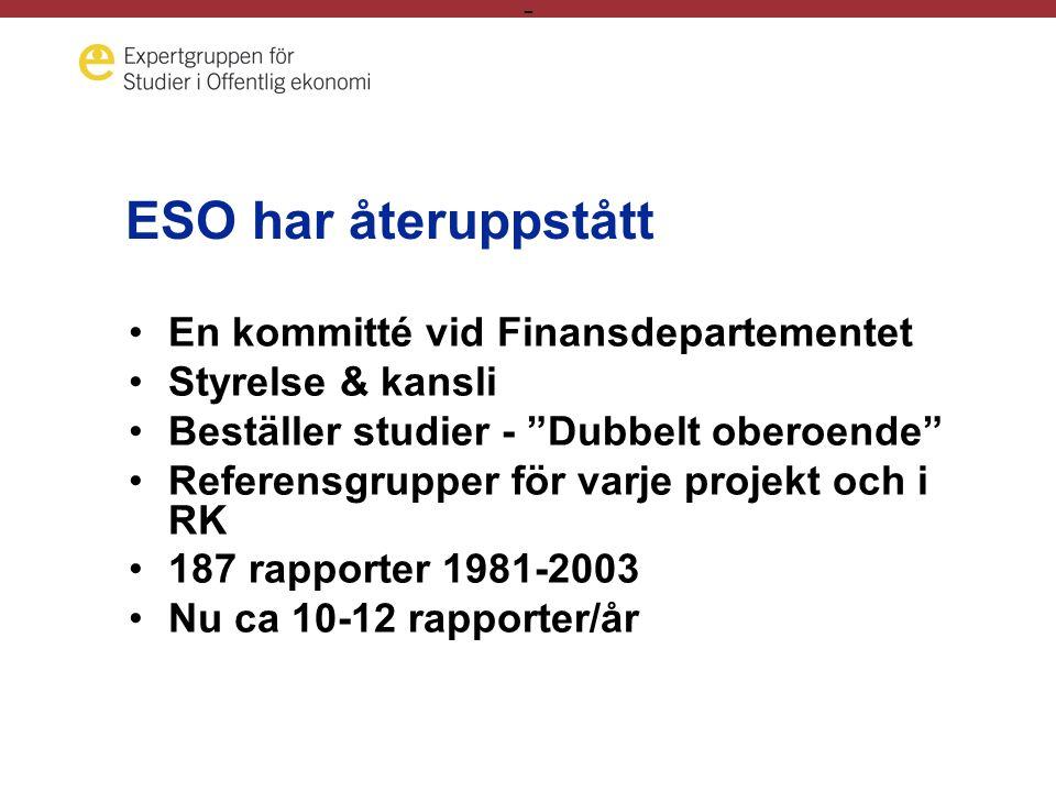 - ESO har återuppstått En kommitté vid Finansdepartementet Styrelse & kansli Beställer studier - Dubbelt oberoende Referensgrupper för varje projekt och i RK 187 rapporter 1981-2003 Nu ca 10-12 rapporter/år