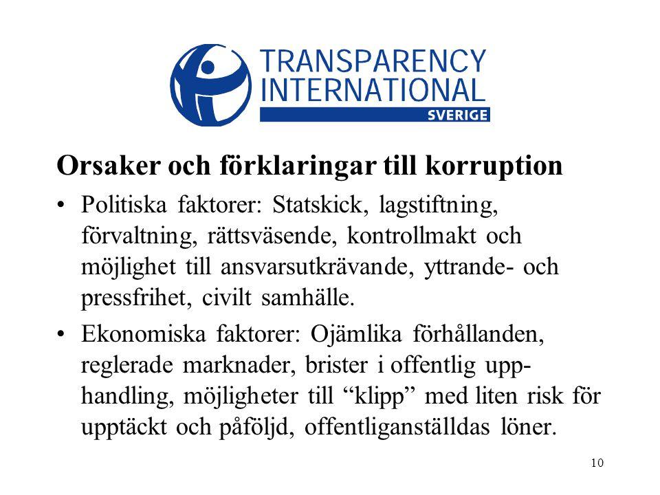 10 Orsaker och förklaringar till korruption Politiska faktorer: Statskick, lagstiftning, förvaltning, rättsväsende, kontrollmakt och möjlighet till ansvarsutkrävande, yttrande- och pressfrihet, civilt samhälle.
