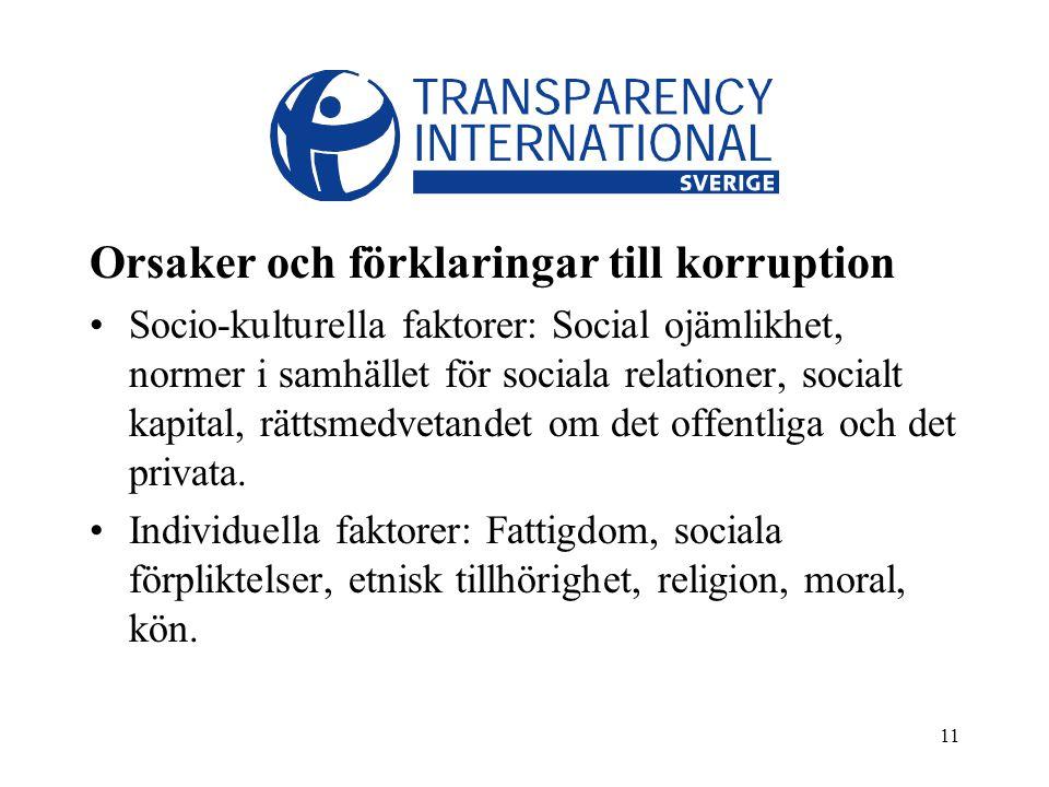 11 Orsaker och förklaringar till korruption Socio-kulturella faktorer: Social ojämlikhet, normer i samhället för sociala relationer, socialt kapital, rättsmedvetandet om det offentliga och det privata.