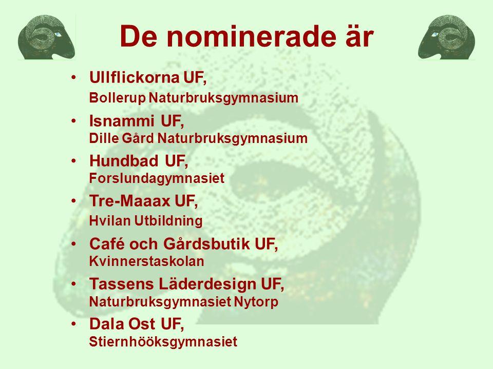 De nominerade är Ullflickorna UF, Bollerup Naturbruksgymnasium Isnammi UF, Dille Gård Naturbruksgymnasium Hundbad UF, Forslundagymnasiet Tre-Maaax UF, Hvilan Utbildning Café och Gårdsbutik UF, Kvinnerstaskolan Tassens Läderdesign UF, Naturbruksgymnasiet Nytorp Dala Ost UF, Stiernhööksgymnasiet