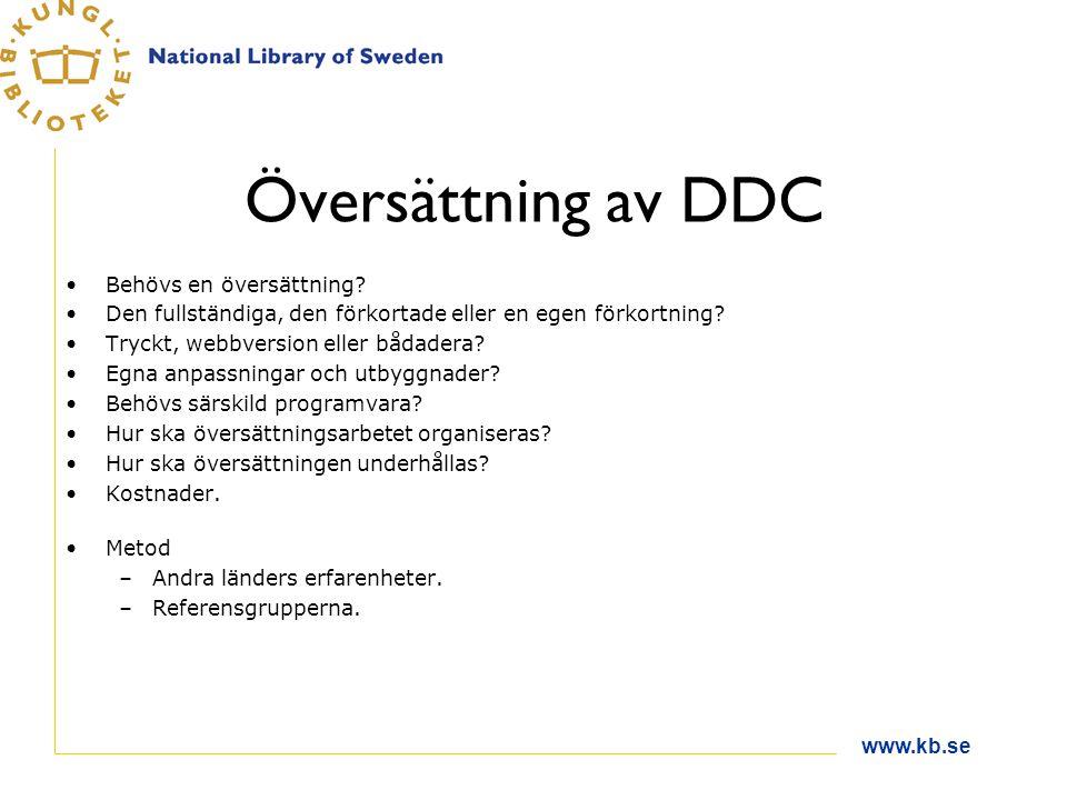www.kb.se Översättning av DDC Behövs en översättning? Den fullständiga, den förkortade eller en egen förkortning? Tryckt, webbversion eller bådadera?
