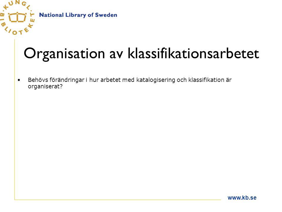 www.kb.se Organisation av klassifikationsarbetet Behövs förändringar i hur arbetet med katalogisering och klassifikation är organiserat?