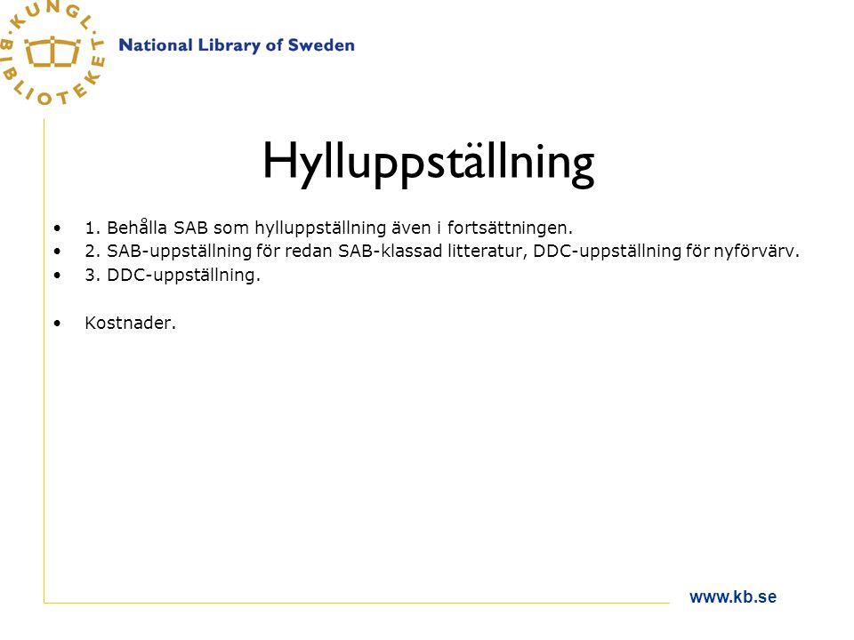 www.kb.se Hylluppställning 1. Behålla SAB som hylluppställning även i fortsättningen. 2. SAB-uppställning för redan SAB-klassad litteratur, DDC-uppstä