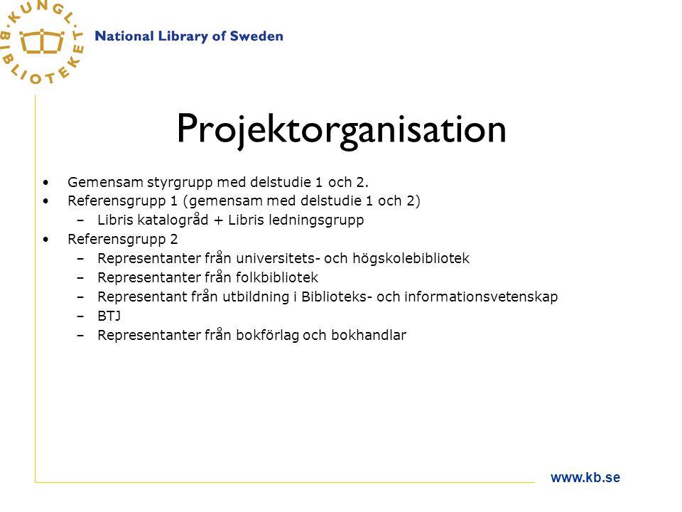 www.kb.se Projektorganisation Gemensam styrgrupp med delstudie 1 och 2. Referensgrupp 1 (gemensam med delstudie 1 och 2) –Libris katalogråd + Libris l