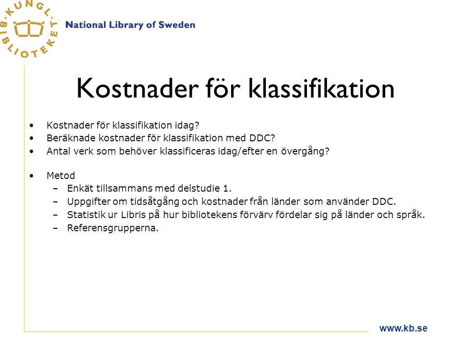 www.kb.se Kostnader för klassifikation Kostnader för klassifikation idag? Beräknade kostnader för klassifikation med DDC? Antal verk som behöver klass
