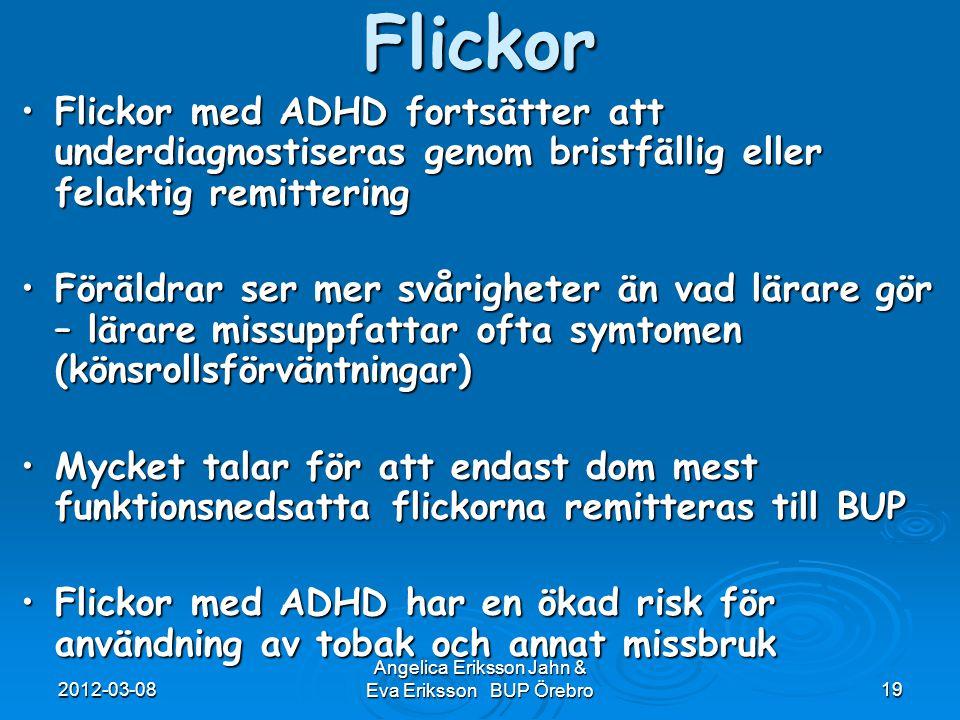 2012-03-08 Angelica Eriksson Jahn & Eva Eriksson BUP Örebro19Flickor Flickor med ADHD fortsätter att underdiagnostiseras genom bristfällig eller felak