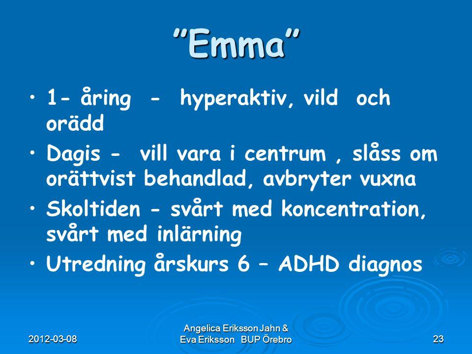 """2012-03-08 Angelica Eriksson Jahn & Eva Eriksson BUP Örebro23 """"Emma"""" 1- åring - hyperaktiv, vild och orädd Dagis - vill vara i centrum, slåss om orätt"""