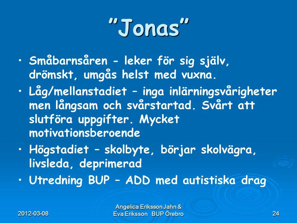 """2012-03-08 Angelica Eriksson Jahn & Eva Eriksson BUP Örebro24 """"Jonas"""" Småbarnsåren - leker för sig själv, drömskt, umgås helst med vuxna. Låg/mellanst"""