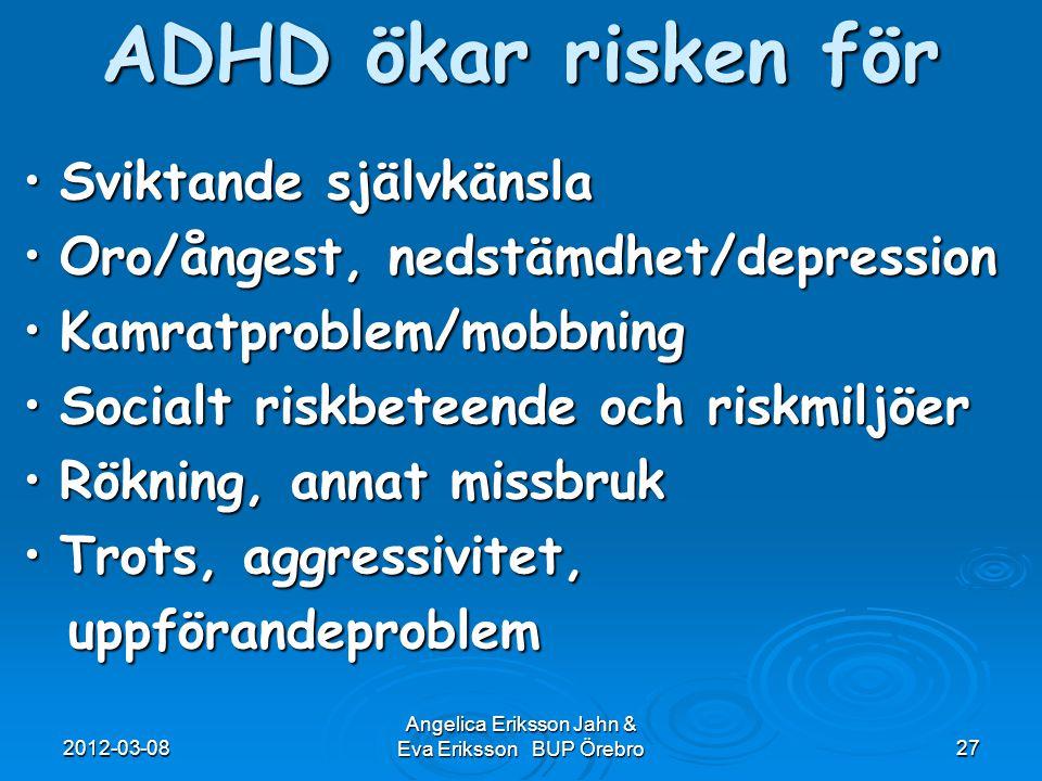 2012-03-08 Angelica Eriksson Jahn & Eva Eriksson BUP Örebro27 ADHD ökar risken för Sviktande självkänslaSviktande självkänsla Oro/ångest, nedstämdhet/
