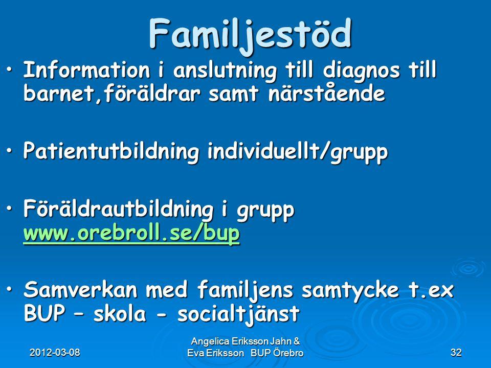 2012-03-08 Angelica Eriksson Jahn & Eva Eriksson BUP Örebro32Familjestöd Information i anslutning till diagnos till barnet,föräldrar samt närståendeIn