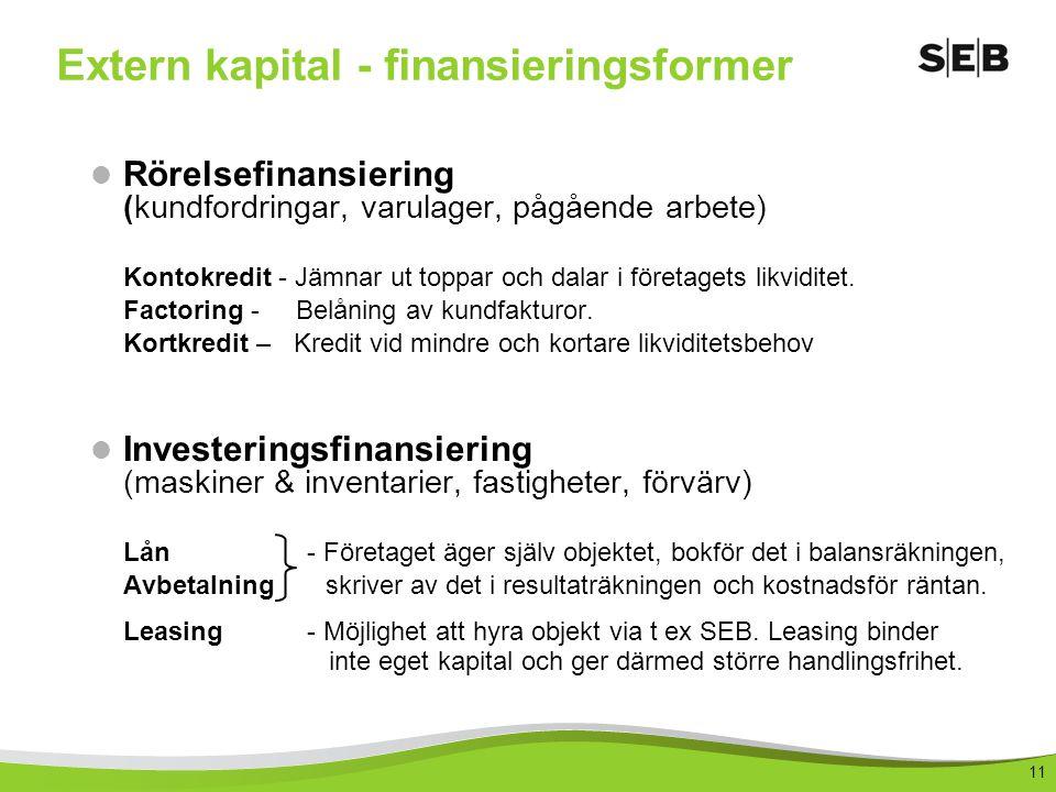 11 Extern kapital - finansieringsformer Rörelsefinansiering (kundfordringar, varulager, pågående arbete) Kontokredit - Jämnar ut toppar och dalar i företagets likviditet.