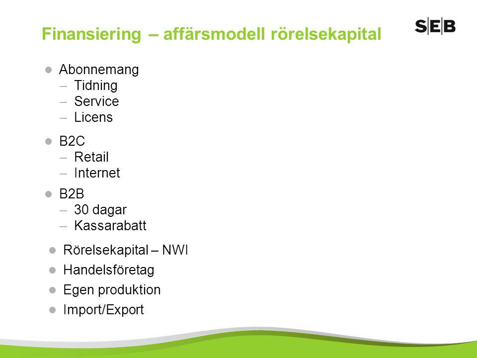 Finansiering – affärsmodell rörelsekapital Abonnemang –Tidning –Service –Licens B2C –Retail –Internet B2B –30 dagar –Kassarabatt Rörelsekapital – NWI Handelsföretag Egen produktion Import/Export