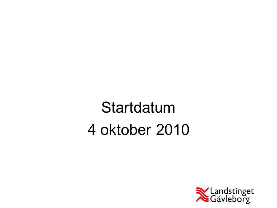 Startdatum 4 oktober 2010
