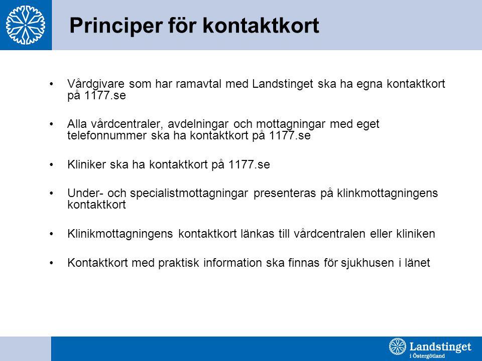 Principer för kontaktkort Vårdgivare som har ramavtal med Landstinget ska ha egna kontaktkort på 1177.se Alla vårdcentraler, avdelningar och mottagnin