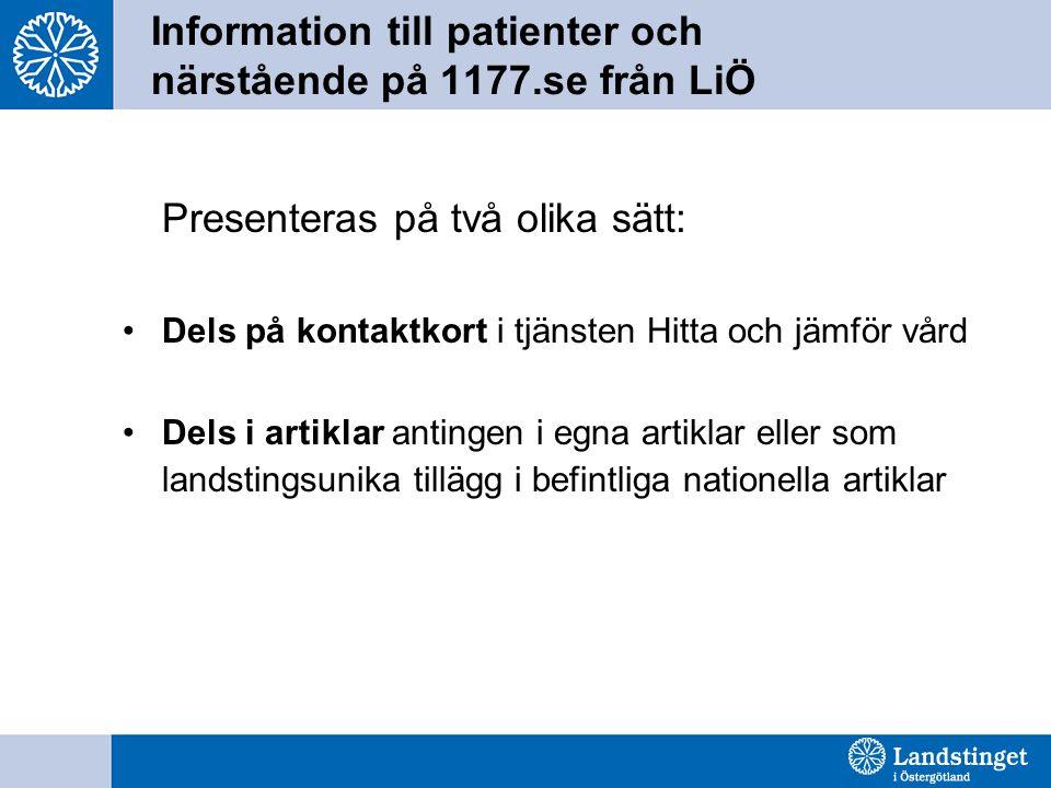 Information till patienter och närstående på 1177.se från LiÖ Presenteras på två olika sätt: Dels på kontaktkort i tjänsten Hitta och jämför vård Dels