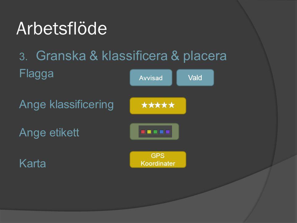 Arbetsflöde 3. Granska & klassificera & placera Flagga Ange klassificering Ange etikett Karta Avvisad Vald GPS Koordinater