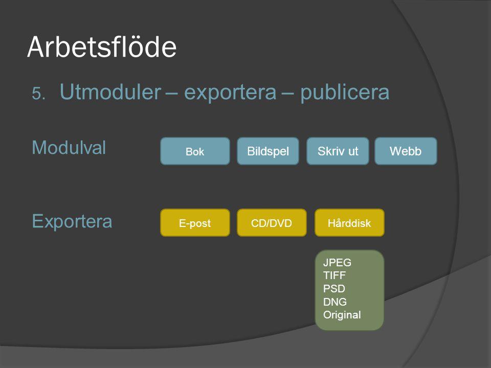 Arbetsflöde 5. Utmoduler – exportera – publicera Modulval Exportera E-post Bok Bildspel JPEG TIFF PSD DNG Original Skriv utWebb CD/DVDHårddisk