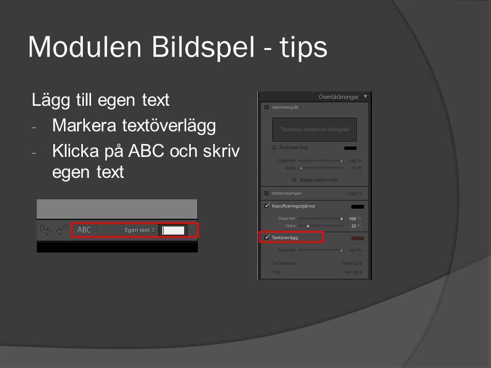 Modulen Bildspel - tips Lägg till egen text - Markera textöverlägg - Klicka på ABC och skriv egen text