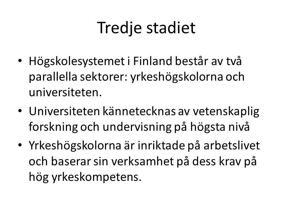 Tredje stadiet Högskolesystemet i Finland består av två parallella sektorer: yrkeshögskolorna och universiteten.