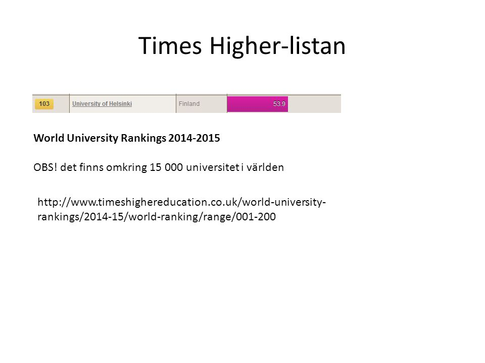 Times Higher-listan http://www.timeshighereducation.co.uk/world-university- rankings/2014-15/world-ranking/range/001-200 World University Rankings 2014-2015 OBS.