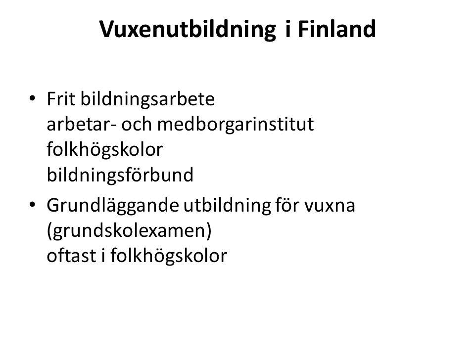 Vuxenutbildning i Finland Frit bildningsarbete arbetar- och medborgarinstitut folkhögskolor bildningsförbund Grundläggande utbildning för vuxna (grundskolexamen) oftast i folkhögskolor