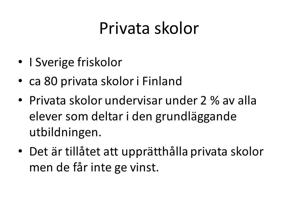 Statliga läroanstalter Allmänbildande specialundervisning (6) Språkskolorna (2) Europaskolan i Helsingfors Statens skolhem (6 stycken)