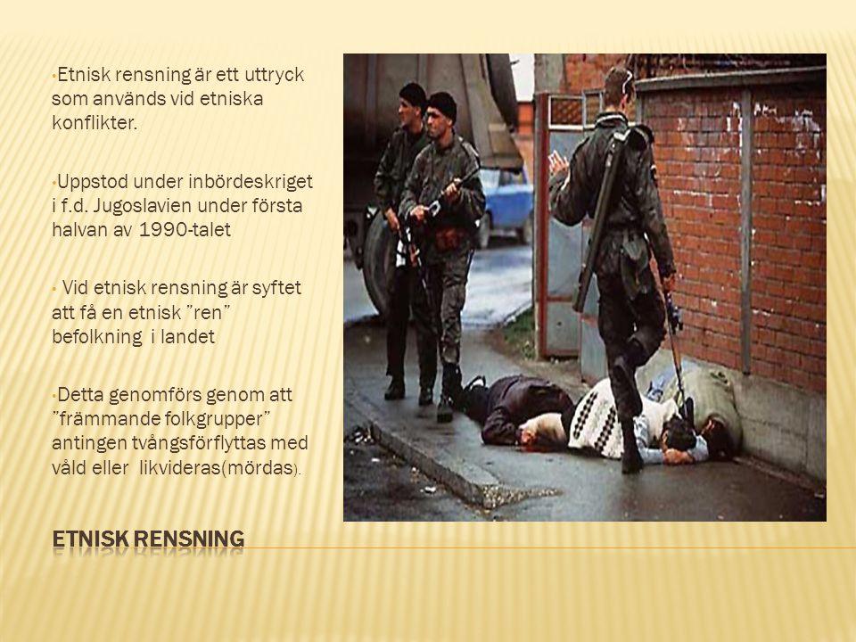 Etnisk rensning är ett uttryck som används vid etniska konflikter. Uppstod under inbördeskriget i f.d. Jugoslavien under första halvan av 1990-talet V