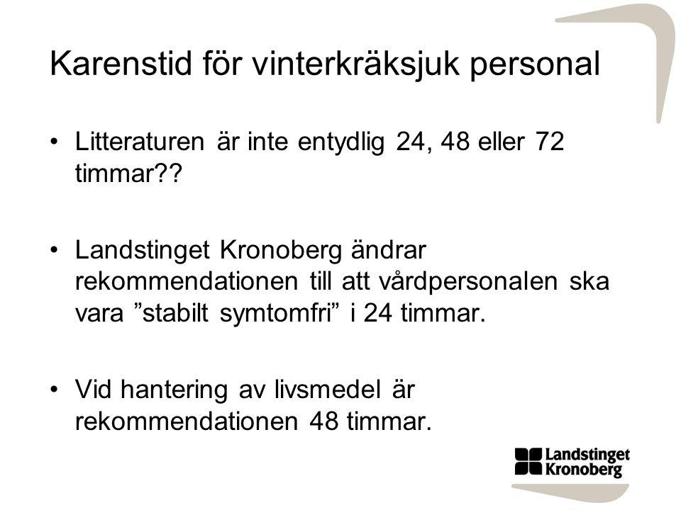 Karenstid för vinterkräksjuk personal Litteraturen är inte entydlig 24, 48 eller 72 timmar?? Landstinget Kronoberg ändrar rekommendationen till att vå