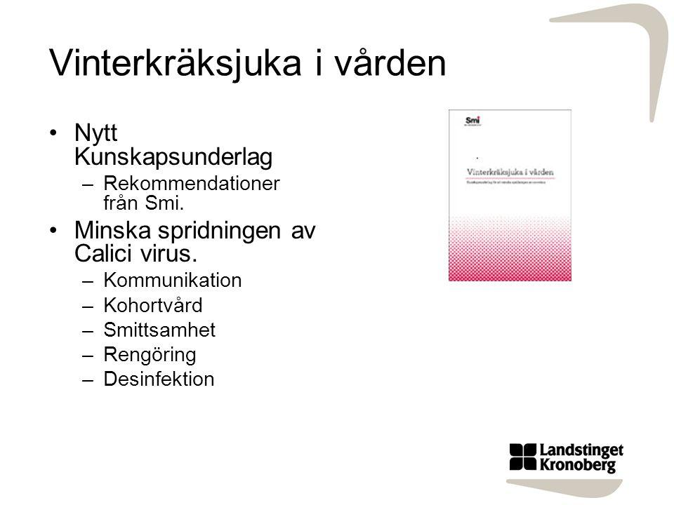 Vinterkräksjuka i vården Nytt Kunskapsunderlag –Rekommendationer från Smi. Minska spridningen av Calici virus. –Kommunikation –Kohortvård –Smittsamhet
