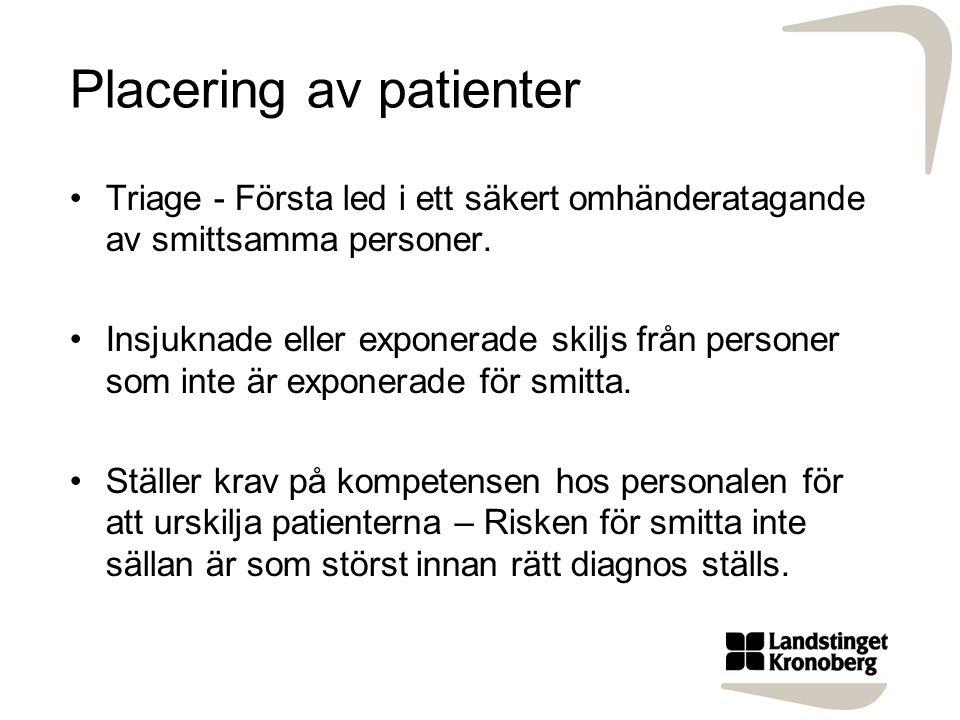 Placering av patienter Triage - Första led i ett säkert omhänderatagande av smittsamma personer. Insjuknade eller exponerade skiljs från personer som