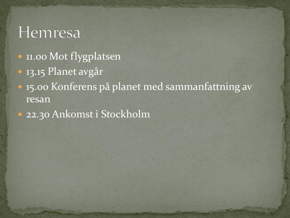 11.00 Mot flygplatsen 13.15 Planet avgår 15.00 Konferens på planet med sammanfattning av resan 22.30 Ankomst i Stockholm