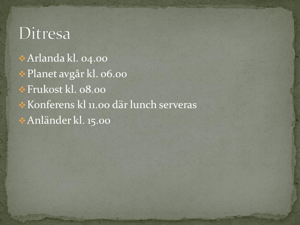  Arlanda kl. 04.00  Planet avgår kl. 06.00  Frukost kl. 08.00  Konferens kl 11.00 där lunch serveras  Anländer kl. 15.00