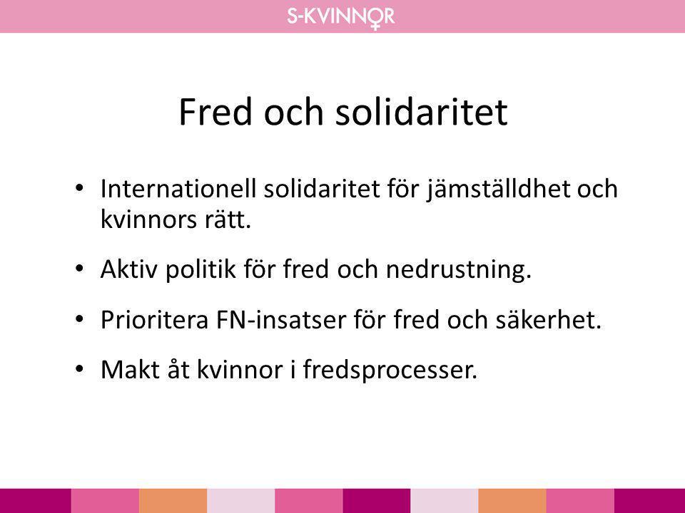 Fred och solidaritet Internationell solidaritet för jämställdhet och kvinnors rätt. Aktiv politik för fred och nedrustning. Prioritera FN-insatser för