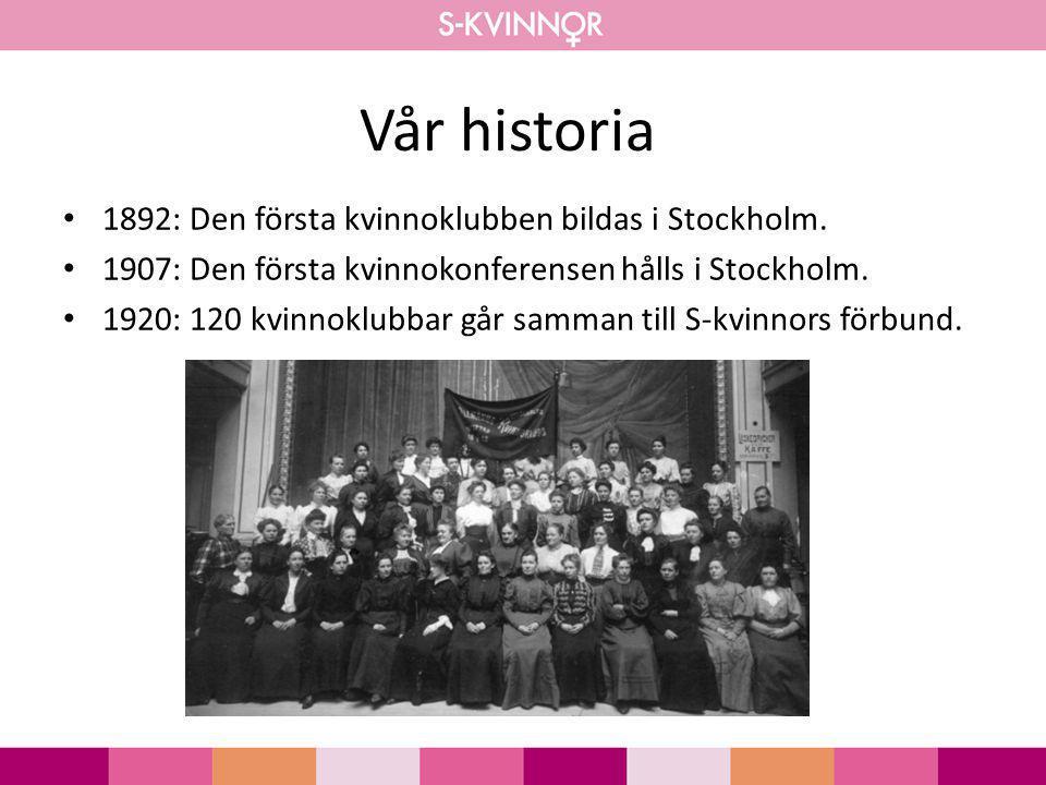 Vår historia 1892: Den första kvinnoklubben bildas i Stockholm. 1907: Den första kvinnokonferensen hålls i Stockholm. 1920: 120 kvinnoklubbar går samm