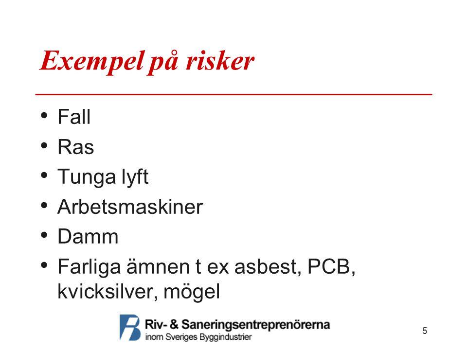Exempel på risker Fall Ras Tunga lyft Arbetsmaskiner Damm Farliga ämnen t ex asbest, PCB, kvicksilver, mögel 5