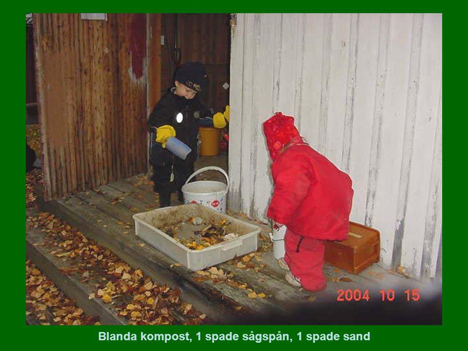 Blanda kompost, 1 spade sågspån, 1 spade sand