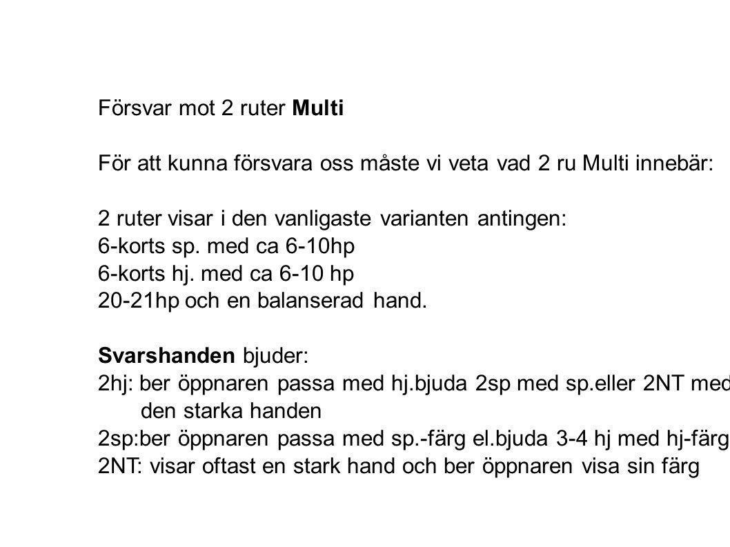 Försvar mot 2 ruter Multi För att kunna försvara oss måste vi veta vad 2 ru Multi innebär: 2 ruter visar i den vanligaste varianten antingen: 6-korts