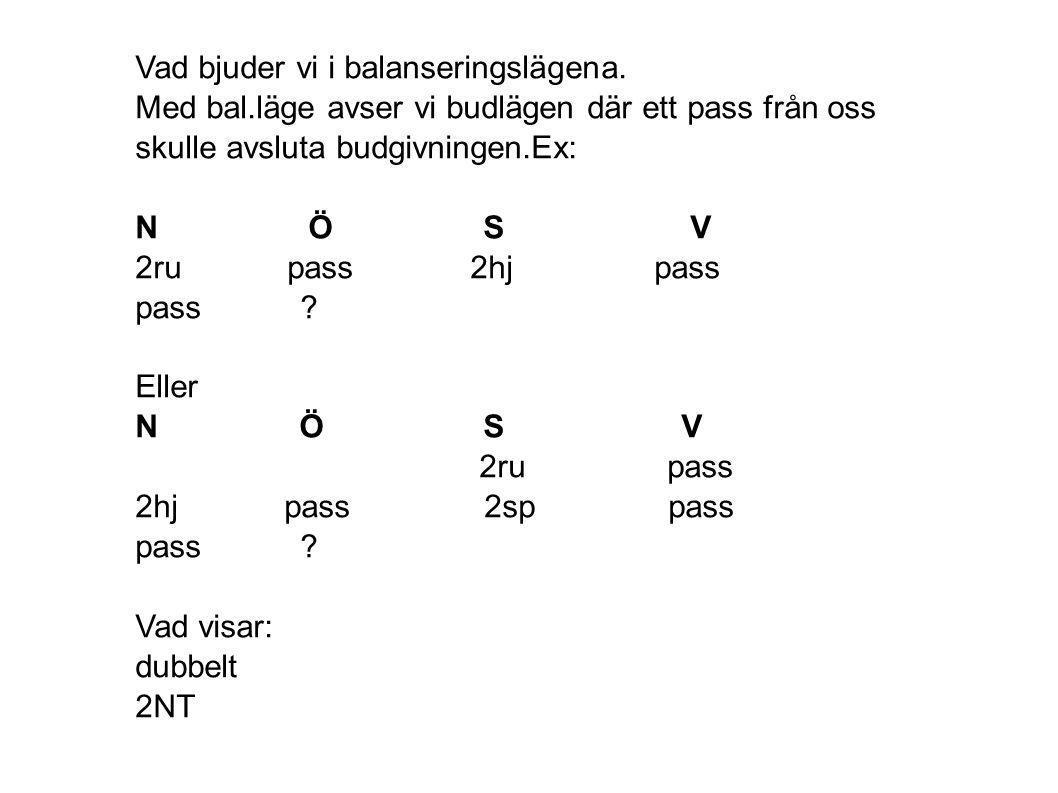 Vad bjuder vi i balanseringslägena. Med bal.läge avser vi budlägen där ett pass från oss skulle avsluta budgivningen.Ex: N Ö S V 2ru pass 2hj pass pas