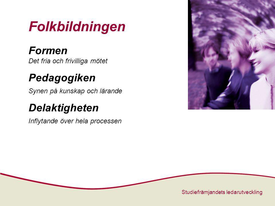 Studiefrämjandets ledarutveckling Folkbildningen Formen Det fria och frivilliga mötet Pedagogiken Synen på kunskap och lärande Delaktigheten Inflytande över hela processen