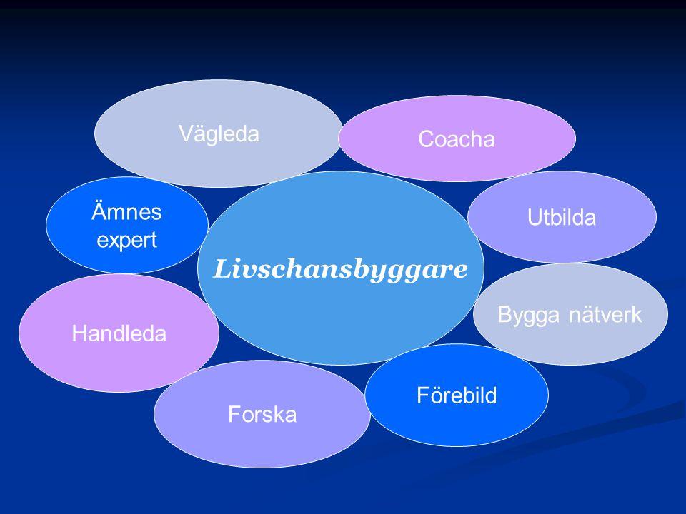 Livschansbyggare Vägleda Coacha Handleda Utbilda Forska Ämnes expert Bygga nätverk Förebild