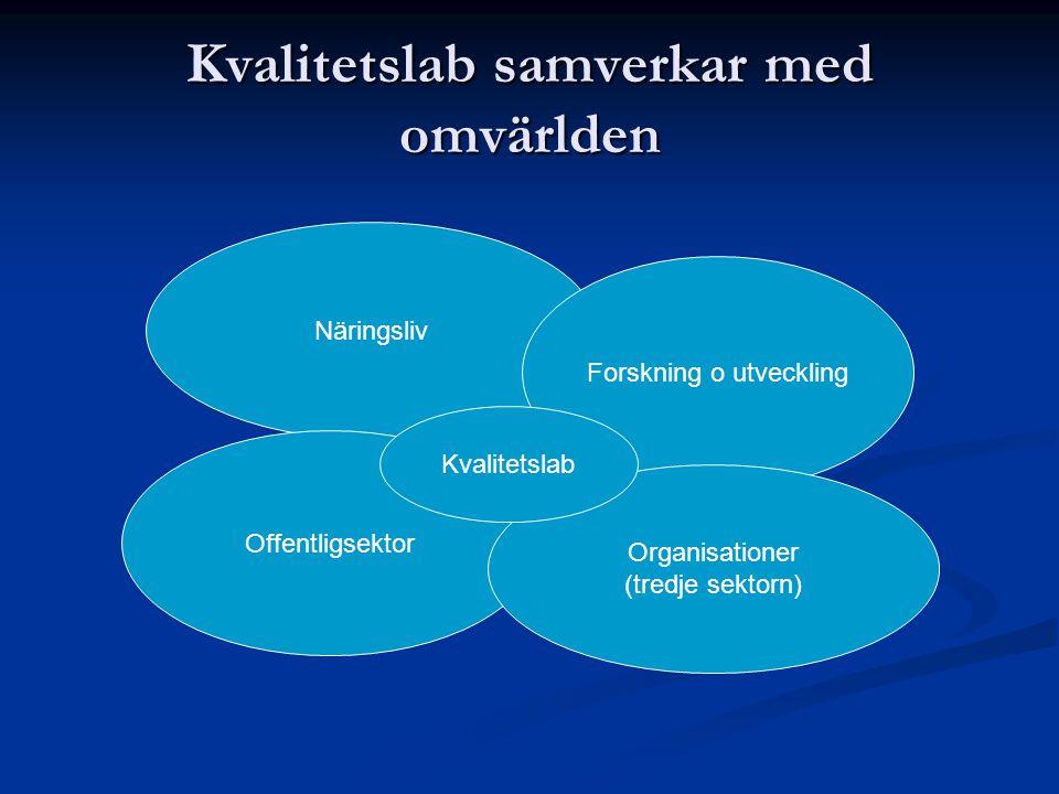 Kvalitetslab samverkar med omvärlden Näringsliv Forskning o utveckling Offentligsektor Organisationer (tredje sektorn) Kvalitetslab