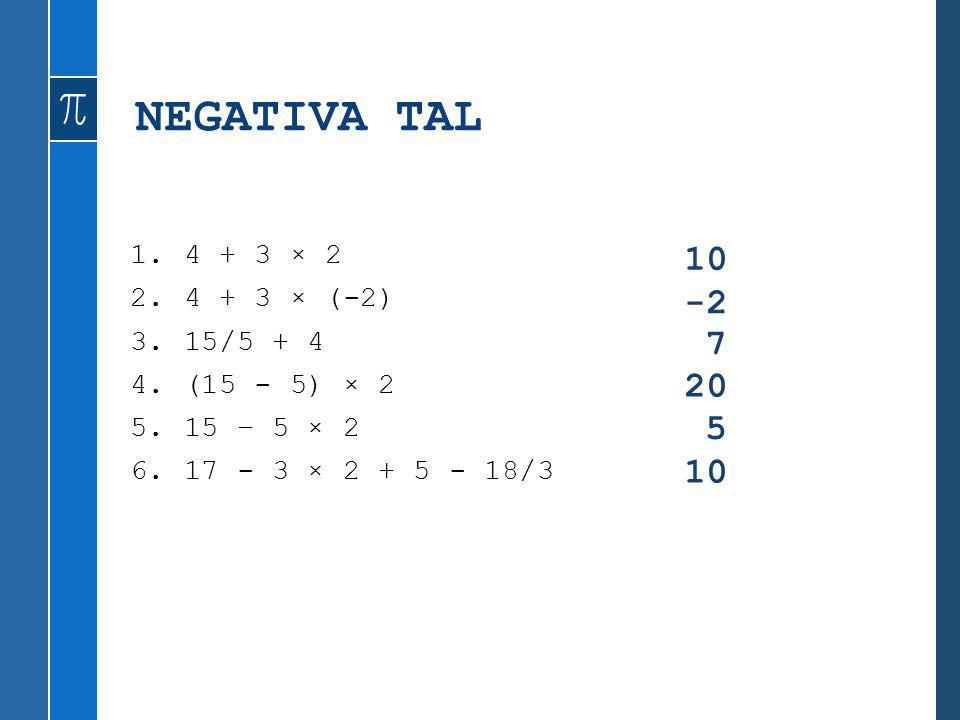 NEGATIVA TAL 1.4 + 3 × 2 2.4 + 3 × (-2) 3.15/5 + 4 4.(15 - 5) × 2 5.15 – 5 × 2 6.17 - 3 × 2 + 5 - 18/3 10 -2 7 20 5 10