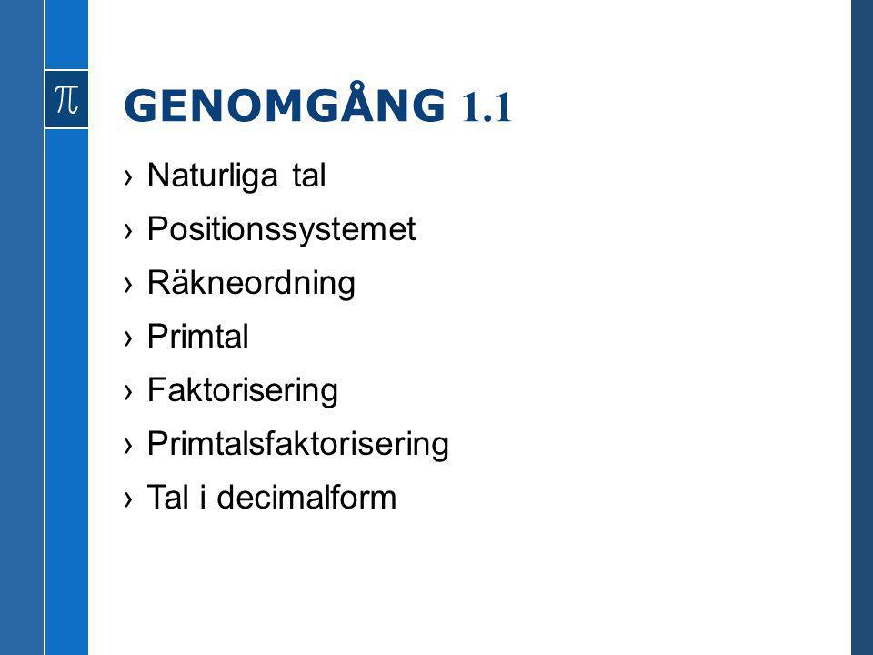 GENOMGÅNG 1.1 ›Naturliga tal ›Positionssystemet ›Räkneordning ›Primtal ›Faktorisering ›Primtalsfaktorisering ›Tal i decimalform