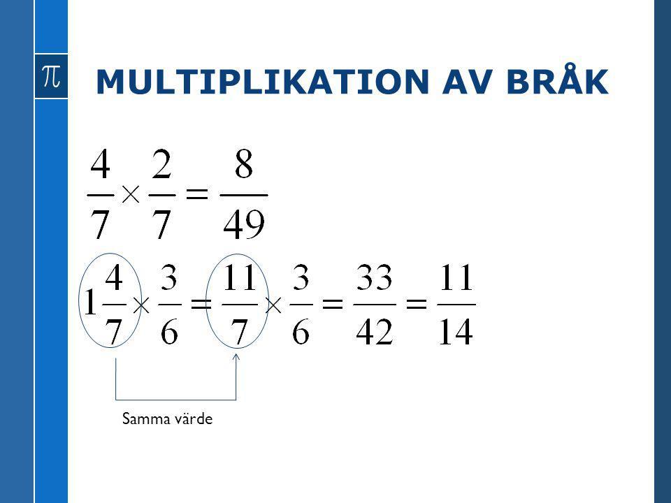 MULTIPLIKATION AV BRÅK Samma värde
