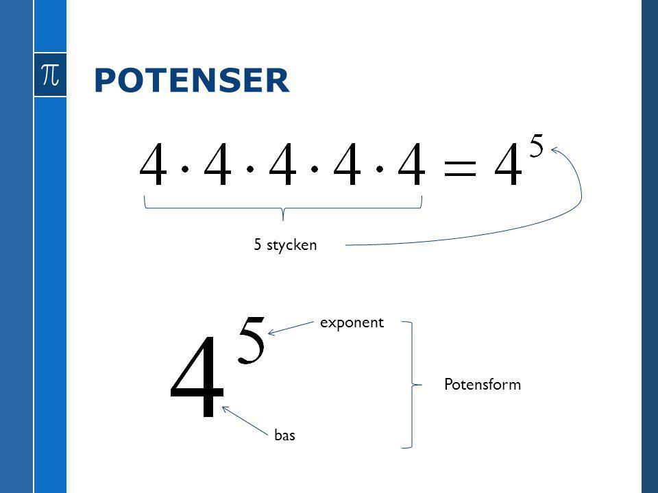 POTENSER 5 stycken bas exponent Potensform