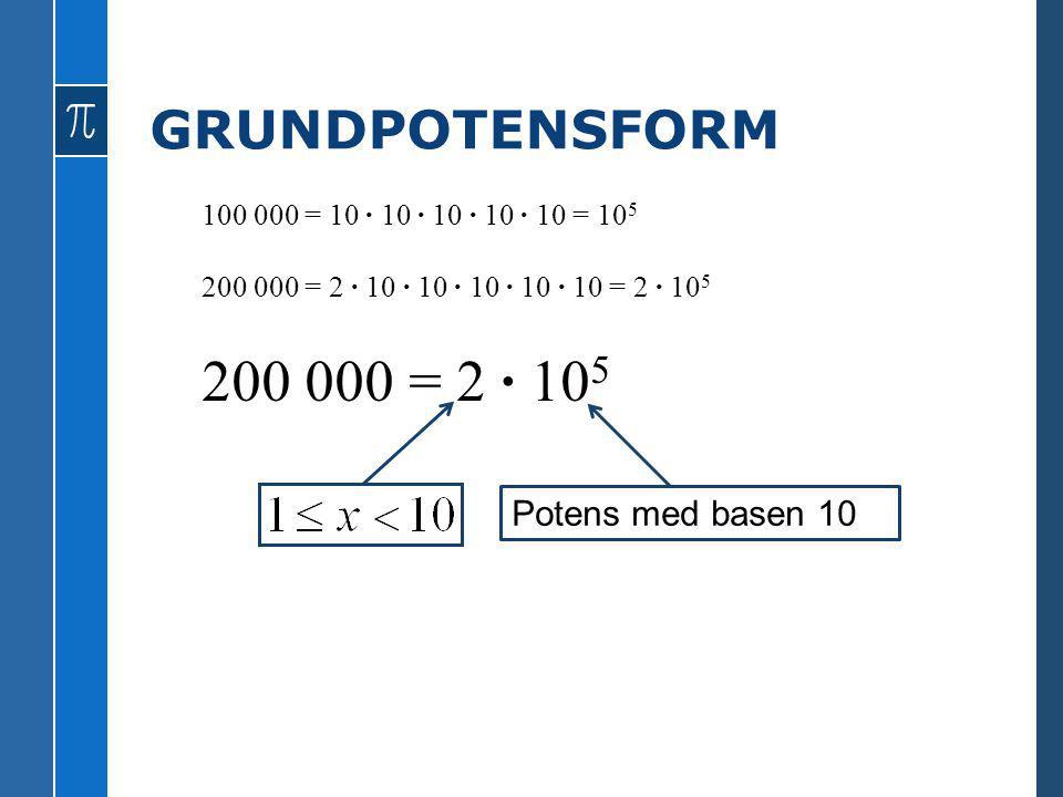 GRUNDPOTENSFORM 100 000 = 10 · 10 · 10 · 10 · 10 = 10 5 200 000 = 2 · 10 · 10 · 10 · 10 · 10 = 2 · 10 5 200 000 = 2 · 10 5 Potens med basen 10