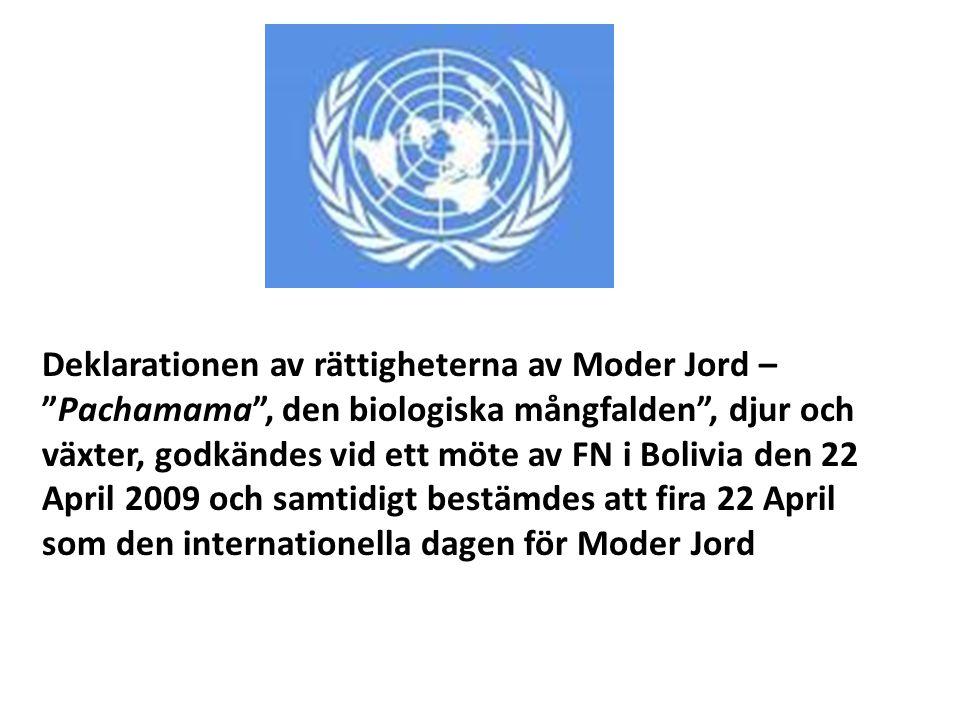 """Deklarationen av rättigheterna av Moder Jord – """"Pachamama"""", den biologiska mångfalden"""", djur och växter, godkändes vid ett möte av FN i Bolivia den 22"""