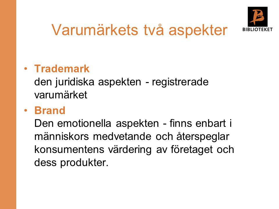 Varumärkets två aspekter Trademark den juridiska aspekten - registrerade varumärket Brand Den emotionella aspekten - finns enbart i människors medveta