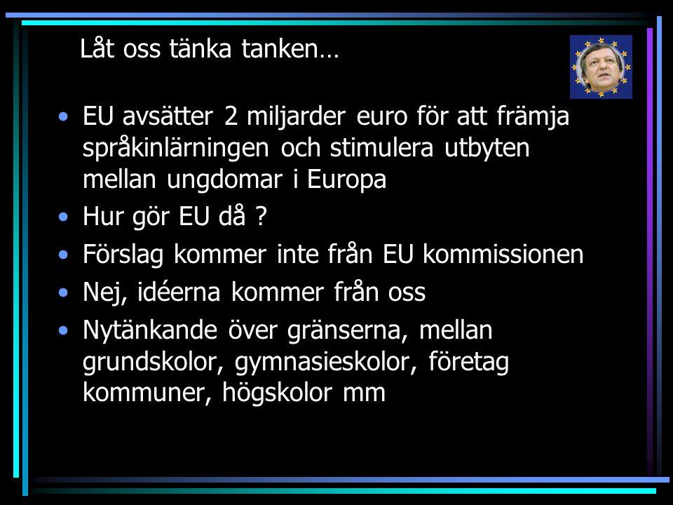 Låt oss tänka tanken… EU avsätter 2 miljarder euro för att främja språkinlärningen och stimulera utbyten mellan ungdomar i Europa Hur gör EU då ? Förs