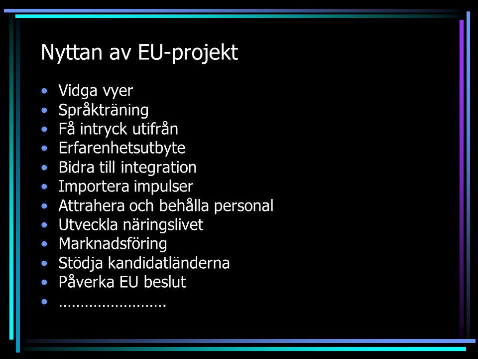 Nyttan av EU-projekt Vidga vyer Språkträning Få intryck utifrån Erfarenhetsutbyte Bidra till integration Importera impulser Attrahera och behålla pers